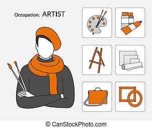 vektor, ikonok, állhatatos, művész