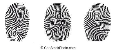 vektor, ikonok, háttér., fehér, elszigetelt, állhatatos, ujjlenyomat