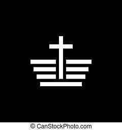 vektor, ikonok, templom, jelkép, vallásos, cégtábla, kereszténység