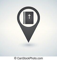 vektor, illustration., biblia, könyv, ikon, mutató