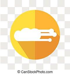 vektor, illustration., forecast., időjárás sebesülés, icon., felhő