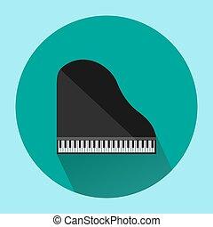 vektor, illustration., tető, elszigetelt, háttér, fekete, nagy, zöld, zongora, kilátás
