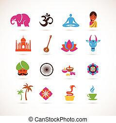vektor, india, gyűjtés, ikonok