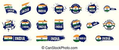 vektor, india, háttér, ábra, lobogó, fehér