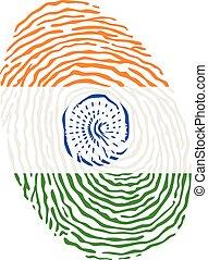 vektor, india lobogó, ujjlenyomat, színezett, nemzeti