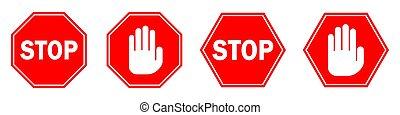 vektor, isolated., megáll cégtábla, kéz, piros