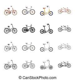 vektor, isometric, állhatatos, kinds, pihenés, ikonok, jelkép, áttekintés, web., különböző, gyűjtés, bicikli, sports., mód, fekete, ábra, jármű, monochrom, bicycles, karikatúra, részvény
