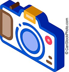 vektor, isometric, fényképezőgép, ikon, ábra