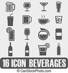 vektor, ital, fekete, állhatatos, sör, ikonok