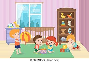 vektor, játék, ábra, óvoda, gyerekszoba, apró, gyerekek