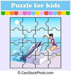 vektor, játék, kids., karikatúra, sea., rejtvény, fish, oktatás, style., delfin, táplálás, rejtvény, illustration., elfoglaltság, szín, worksheet., page., elszigetelt, leány, preschool.