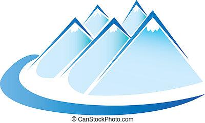 vektor, jég, jel, blue hegy