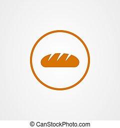 vektor, jelkép, bread, ikon, tervezés, pék