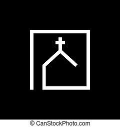vektor, jelkép, vallásos, cégtábla, templom, kereszténység, ikonok