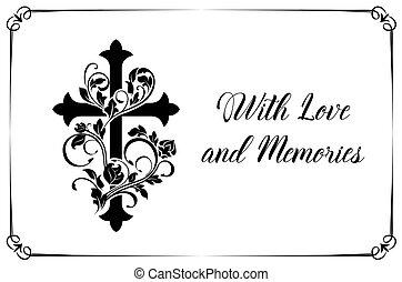 vektor, kártya, kereszt, virágos, díszítés, temetés