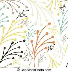 vektor, kéz, floral példa, eredet, háttér, nyár, leaves., húzott, pattern., seamless, ábra