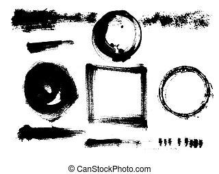 vektor, kéz, tinta, streaks., elements., húzott, blots, karika, grunge, bepiszkol, evez