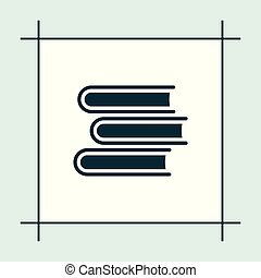 vektor, könyv, ikon, oktatás, ábra
