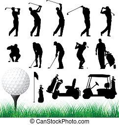 vektor, körvonal, golfjátékos