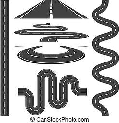 vektor, közútak, ikonok, állhatatos, ábra, autópályák