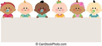 vektor, különböző, tiszta, horizontális, csoport, banner., ábra, kisbabák