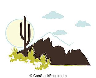 vektor, kaktusz, hegy., saguaro