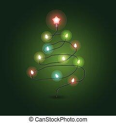 vektor, karácsony, garland., szín, fa, girland, illustration., világítás
