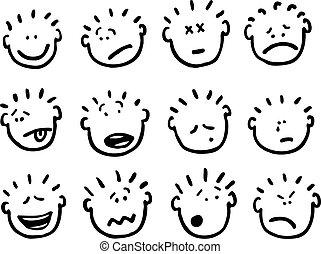 vektor, karikatúra, érzelmek, arc