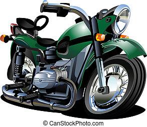 vektor, karikatúra, motorkerékpár