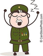 vektor, karikatúra, nagyon, álmos, érzés, ábra, őrmester