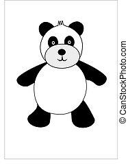 vektor, karikatúra, panda
