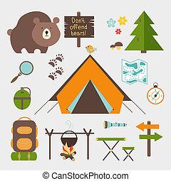 vektor, kempingezés, erdő, állhatatos, ikonok