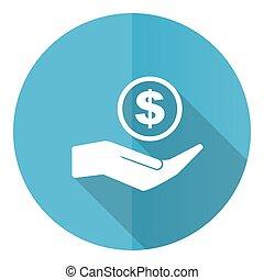 vektor, kerek, pénz, lakás, kék, elszigetelt, készpénz, ikon, tervezés, white háttér