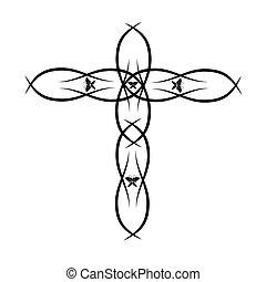 vektor, keresztény, kereszt, választékos