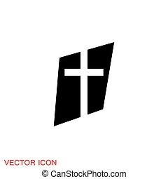 vektor, kereszténység, templom, cégtábla, jelkép, ikonok, vallásos
