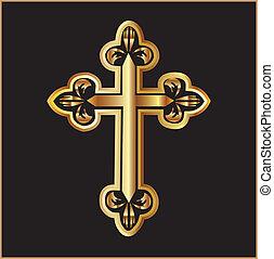 vektor, kereszt, arany, kereszténység