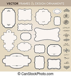 vektor, keret, állhatatos, díszítés, választékos