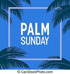 vektor, keret, pálma, vasárnap, háttér, ünnep