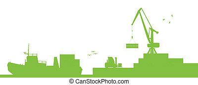 vektor, kikötő, fogalom, szállítás, hajó, ipari, ökológia, tengerpart, daru