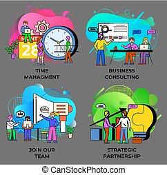 vektor, konzultáció, ügy, vezetőség, idő