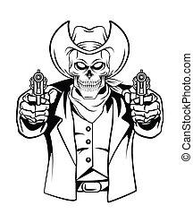 vektor, koponya, ábra, cowboy