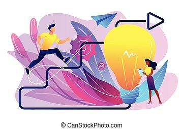 vektor, kreatív, fogalom, illustration., ihlet