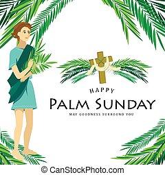 vektor, krisztus, belépés, ünnep, húsvét, ábra, boldog, zöld, fiú, ünneplés, jézus, jeruzsálem, vallás, vasárnap, gyerekek, pálma, köszöntések, pálma, gyerekek, előbb