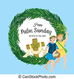 vektor, krisztus, belépés, ünnep, húsvét, boldog, zöld, ábra, ünneplés, jézus, jeruzsálem, vallás, vasárnap, gyerekek, pálma, köszöntések, előbb, pálma, childrens