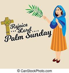 vektor, krisztus, belépés, ünnep, húsvét, emberek, zöld, ábra, ünneplés, jézus, jeruzsálem, vallás, vasárnap, nő, pálma, köszöntések, pálma, boldog, előbb