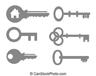 vektor, kulcs, ábra, állhatatos, ikon