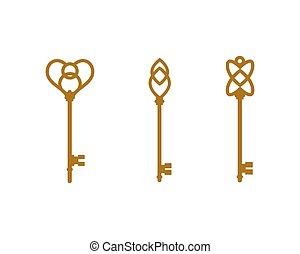 vektor, kulcs, ábra, ikon