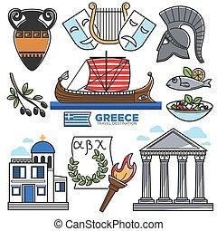 vektor, kultúra, városnézés, iránypont, ikonok, utazás, görögország