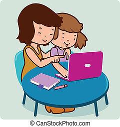 vektor, lány, computer., ábra, anya