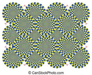 vektor, látási, háttér, dugóhúzó, illúzió, biciklizik